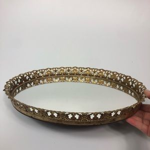 Other - Vintage Oval Gold Mirrored Ornate Vanity Tray 13x9